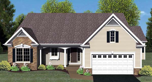 Ranch House Plan 54059 with 3 Beds, 2 Baths, 2 Car Garage Elevation