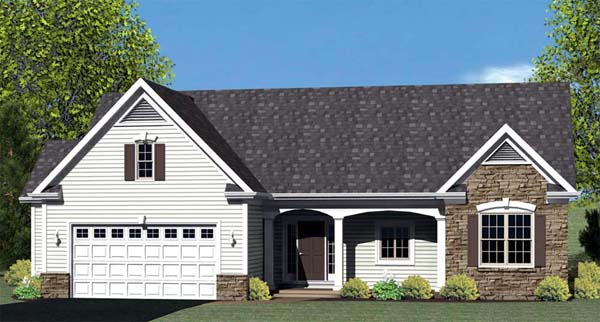 Ranch House Plan 54060 with 3 Beds, 2 Baths, 2 Car Garage Front Elevation