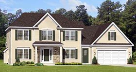 Traditional House Plan 54061 with 4 Beds, 3 Baths, 2 Car Garage Elevation