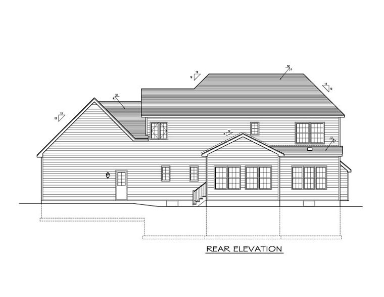 Traditional House Plan 54061 with 4 Beds, 3 Baths, 2 Car Garage Rear Elevation