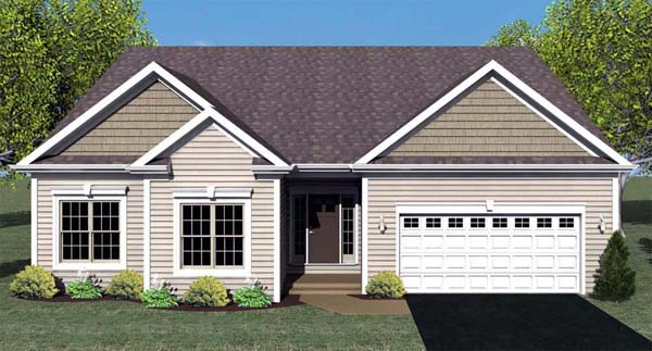 Ranch House Plan 54062 with 3 Beds, 2 Baths, 2 Car Garage Elevation