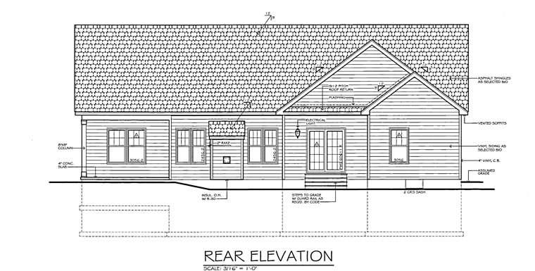Ranch Traditional House Plan 54066 Rear Elevation