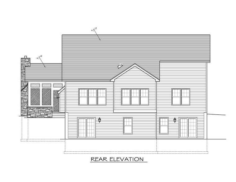 Ranch House Plan 54069 Rear Elevation