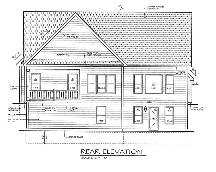 House Plan 54070 Rear Elevation