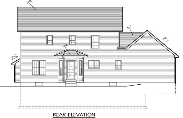 Traditional House Plan 54071 Rear Elevation