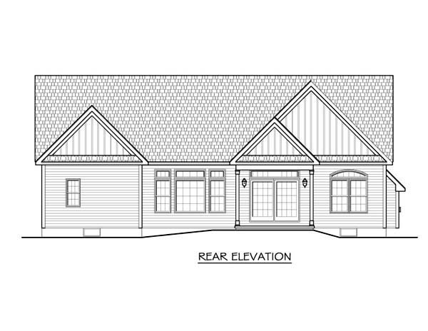 Ranch House Plan 54075 Rear Elevation