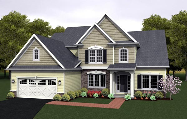 Cape Cod House Plan 54080 with 3 Beds, 3 Baths, 2 Car Garage Elevation
