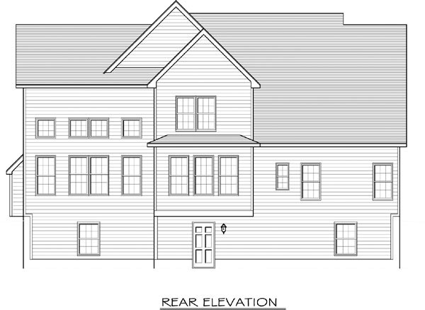 Cape Cod House Plan 54080 with 3 Beds, 3 Baths, 2 Car Garage Rear Elevation