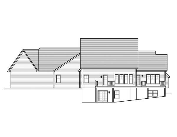 Cape Cod Rear Elevation of Plan 54081