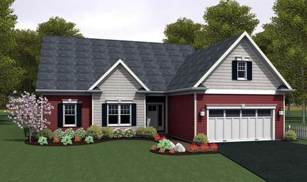 Ranch House Plan 54087 with 2 Beds, 2 Baths, 2 Car Garage Front Elevation