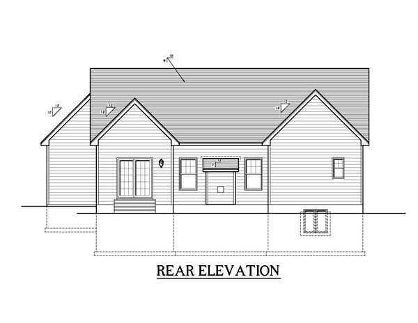 Ranch House Plan 54087 with 2 Beds, 2 Baths, 2 Car Garage Rear Elevation