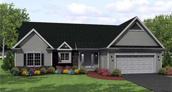 Ranch House Plan 54089 with 3 Beds, 2 Baths, 2 Car Garage Front Elevation