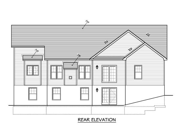 Ranch House Plan 54090 Rear Elevation