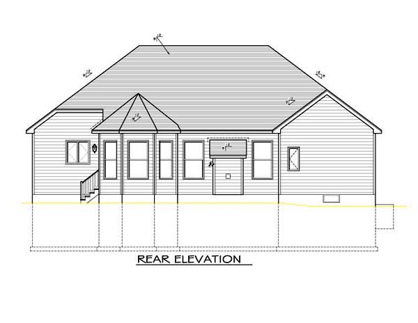 Ranch House Plan 54091 Rear Elevation