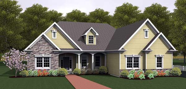 Ranch House Plan 54092 Elevation