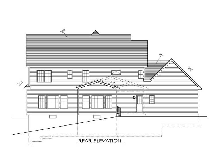 Traditional House Plan 54093 Rear Elevation