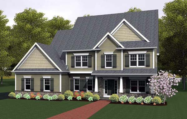 House Plan 54097 with 4 Beds, 3 Baths, 2 Car Garage Front Elevation