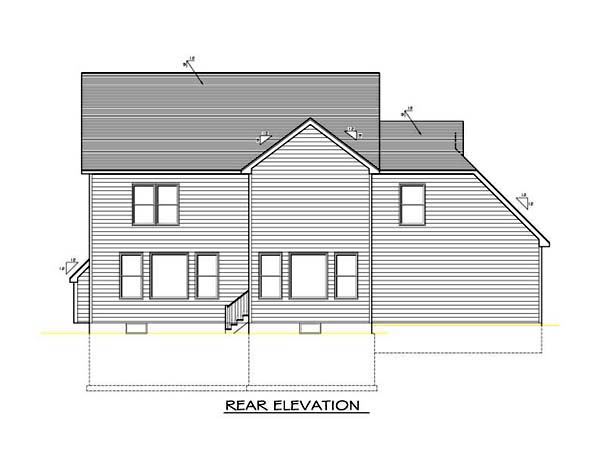 Rear Elevation of Plan 54097