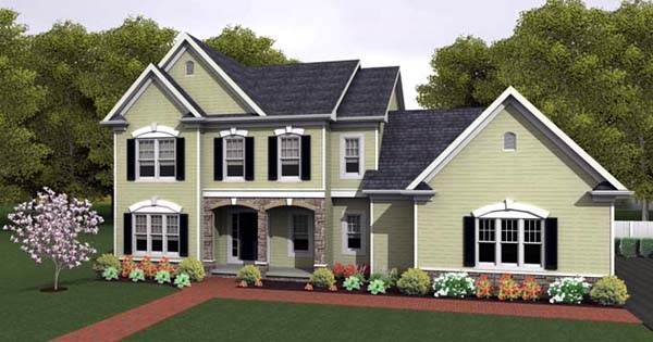 House Plan 54098 with 4 Beds, 3 Baths, 3 Car Garage Elevation