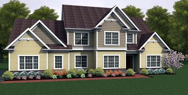 House Plan 54102 with 4 Beds, 3 Baths, 2 Car Garage Elevation