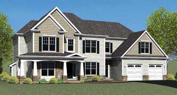 House Plan 54104 with 4 Beds , 3 Baths , 2 Car Garage Elevation