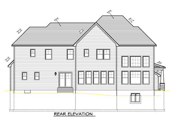 House Plan 54104 with 4 Beds , 3 Baths , 2 Car Garage Rear Elevation