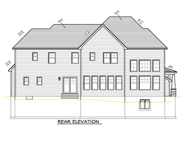 House Plan 54104 with 4 Beds, 3 Baths, 2 Car Garage Rear Elevation