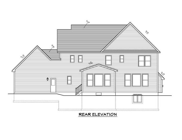 Traditional House Plan 54105 Rear Elevation