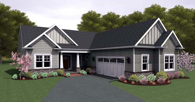 Ranch House Plan 54106 with 3 Beds, 2 Baths, 2 Car Garage Elevation