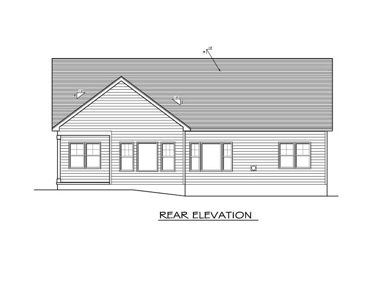Ranch House Plan 54106 with 3 Beds, 2 Baths, 2 Car Garage Rear Elevation