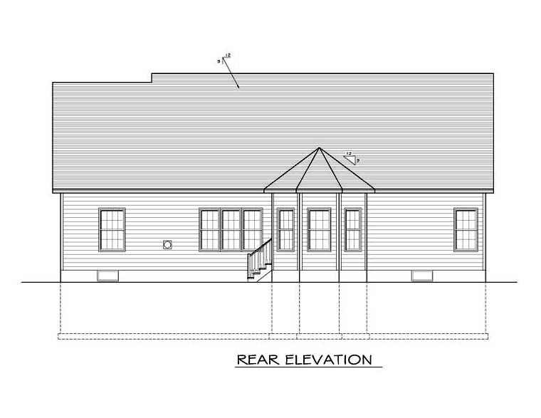Ranch , Rear Elevation of Plan 54107