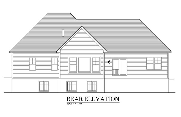 Ranch , Rear Elevation of Plan 54109