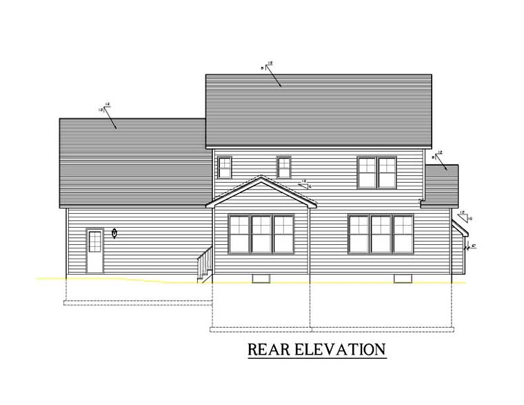 Traditional , Rear Elevation of Plan 54114