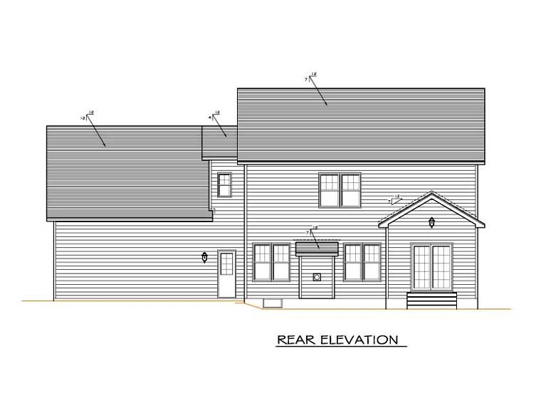 Traditional House Plan 54123 Rear Elevation