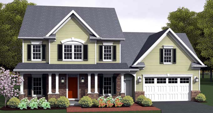 Traditional House Plan 54124 with 4 Beds , 3 Baths , 2 Car Garage Elevation
