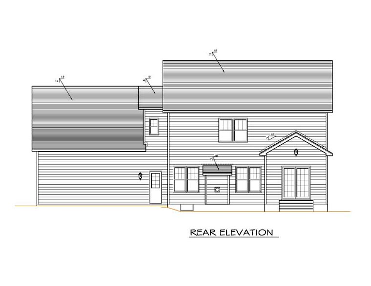 Traditional House Plan 54124 with 4 Beds , 3 Baths , 2 Car Garage Rear Elevation