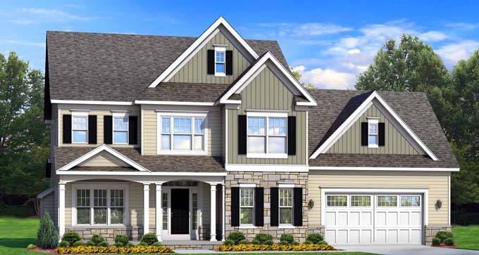 Traditional House Plan 54127 with 4 Beds, 3 Baths, 2 Car Garage Elevation