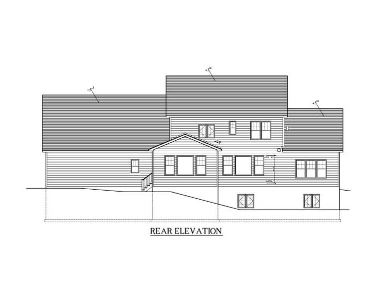 Cape Cod House Plan 54130 Rear Elevation