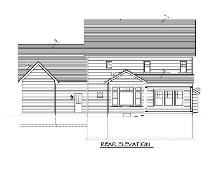 Traditional House Plan 54132 Rear Elevation