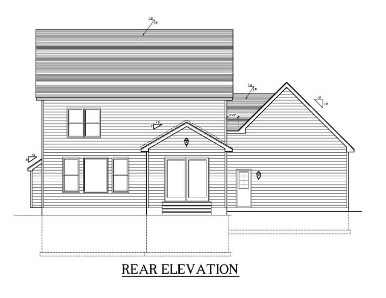 Traditional House Plan 54135 Rear Elevation