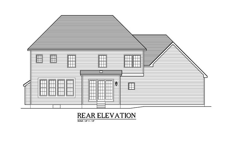Traditional House Plan 54137 Rear Elevation