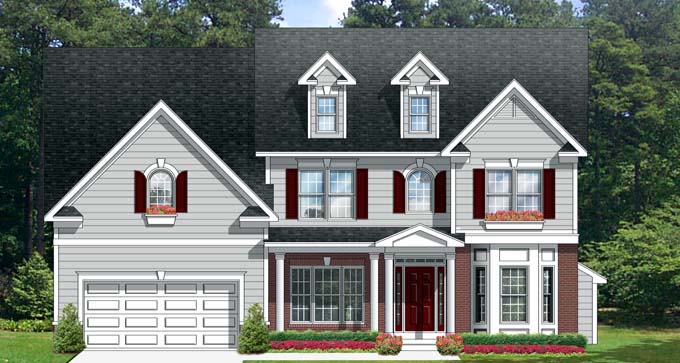House Plan 54140 | Traditional Style Plan with 2964 Sq Ft, 4 Bedrooms, 3 Bathrooms, 2 Car Garage Elevation