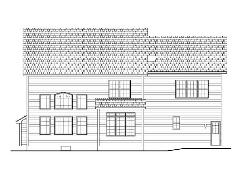 House Plan 54140 | Traditional Style Plan with 2964 Sq Ft, 4 Bedrooms, 3 Bathrooms, 2 Car Garage Rear Elevation