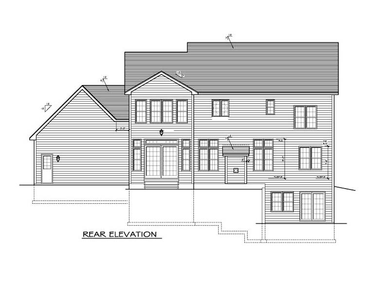 Traditional House Plan 54142 Rear Elevation