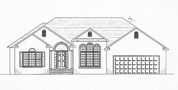 European, One-Story House Plan 54415 with 3 Beds , 3 Baths , 2 Car Garage Elevation