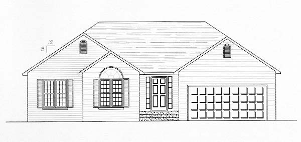 Traditional House Plan 54427 with 3 Beds, 2 Baths, 2 Car Garage Elevation