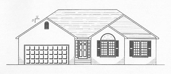 One-Story, Traditional House Plan 54431 with 3 Beds , 2 Baths , 2 Car Garage Elevation