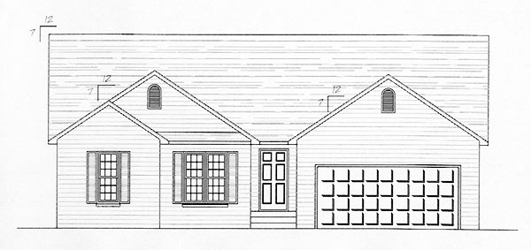 One-Story, Traditional House Plan 54433 , 2 Car Garage Elevation