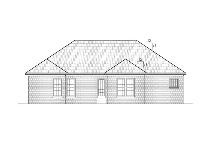 Ranch Rear Elevation of Plan 54441