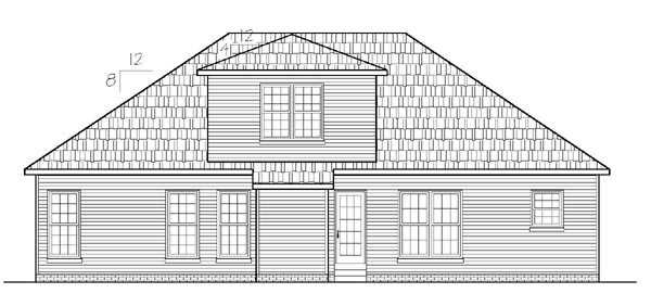 House Plan 54445 | Ranch Style Plan with 1575 Sq Ft, 3 Bedrooms, 3 Bathrooms, 2 Car Garage Rear Elevation